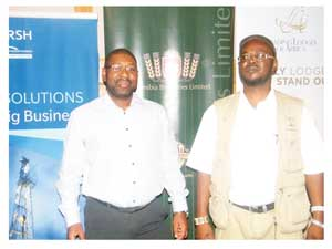 Digu Naobeb, CEO of Namibia Tourism Board and Sem Shikongo, Director of Tourism in the Ministry of Environment and Tourism at the Trade Forum in Windhoek. (Photograph by Hilma Hashange)