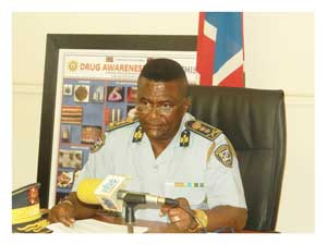 Deputy Inspector-General for Administration, Major General James Tjivikua at a media briefing on road safety and crime during the Easter holiday this week.