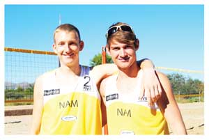 Namibian Junior Boys Beach Volleyball Team, Tin Hlupic & Gerard Fischer