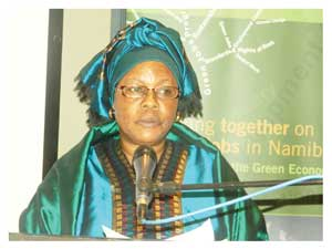 Hon. Doreen Sioka, Minister of Labour and Social Welfare speaking at the two-day workshop in Windhoek (Photograph by Lorato Khobetsi)