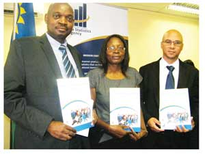 Daniel Oherein - Deputy Director: Household, Welfare and Labour Statistics, Liina Kafidi, Director for Demographic and Social Statistics and Dr. John Steytler, Statistician General of Namibia Statistics Agency at the launch of the fifth Namibia Labour Force Survey 2012 Report (Photograph by Hilmah Hashange)