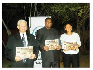 Minister of Agriculture, Water and Forestry, Hon. John Mutorwa flanked by French Ambassador to Namibia, Ambassador Jean-Louis Zoel and US Ambassador Wanda Nesbitt. (Photograph by Melba Chipepo)
