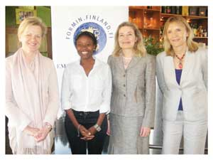 Dr. Eija Nieminen from the Helsinki Sustainability Centre, Tuli Garoes-Trade Promotion Officer at Ministry of Trade and Industry, Head of Mission at the Embassy of Finland to Namibia, Her Excellency Anne Saloranta and Vuokko Laurila, Managing Director of AQUAMEC Ltd during the launch of Team Finland Network in Namibia. (Photograph by Hilma Hashange)
