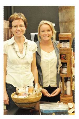 The winners of the Namibian Essential Oil Innovation competition, Tamarind Nott (left) and Sophia Snyman with their winning products (Photograph by Julian Fennessy).