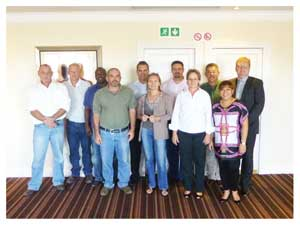 The Exco of the Hospitality Association of Namibia. Back Row: Louis Nortje, Mark Muecke, Mika Shapwanale, Robert Nienaber, Rudie Putter, Christie Benade and Werner Beddies. Front row: Rogero Micheletti, Gitta Paetzold (CEO), Heidi Snyman and Janet Wilson Moore