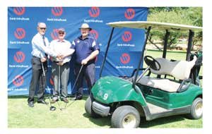 George Vink, Captain of WGCC, Riaan van Rooyen, Head: Corporate Communication and Social Investment at Bank Windhoek and Hugh Mortimer, Tournament Convener at NAGU at the handover of the sponsorship.