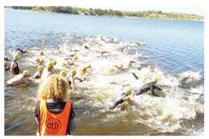 The 1.2 km swim proved formidable for most contestants during the Stauch and Partners off triathlon vompetition which is part of the Enduro games.
