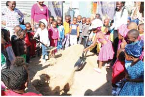 The young pre-primary learners of Maria Pre-Primary joined their teachers and B2Gold's management last week Wednesday in the joyous groundbreaking event to start construction of two new classrooms and an ablution block.