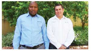 Standard Bank's Agricultural Advisor, Gerhard Mukuahima and Head of Commercial, Regional and Agriculture Department Herman Coetzee