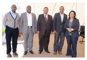 Minister of Fisheries and Marine Resource, Hon Bernhard Esau (middle) with NFCPT Board members, from left, Matheus Amadhila (Deputy Chairman), Steven Ambabi, Tobie Aupindi (Chairman) and Katrina Sikeni.