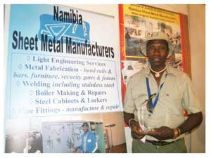 The Arandis-based company, Namibia Sheet Metal Manufacturers was one of the many non-mining companies which participated in the Mineral, Mining and Energy Expo which was hosted in conjunction with the Arandis Investment Conference. The company was represented by its owner, Daniel Amaambo.