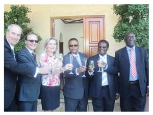 Toasting during the launching of MARINAM are Kari Saloranta, Dr. Juha Kämäri, Managing Director of Satakunta University of Applied Sciences (SAMK) in Finland, Her Excellency Anne Saloranta, Charge d'Affaires of Finland, Honourable Minister of Fisheries and Marine Resources, Bernard Esau, Professor Errol Tyobeka from Polytechnic of Namibia and Acting Director of Namibia Maritime and Fisheries Institute (NAMFI), Cornelius Bundje.