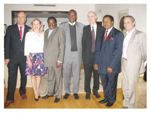 Present at the launching of the second phase of the MEDUNAM project are Kari Saloranta, Head of Mission at the Embassy of Finland to Namibia, Her Excellency Anne Saloranta, Veterans' Affairs Minister Honorable  Dr.Nickey Iyambo, Professor Lazarus Hangula, +Vice Chancellor of University of Namibia, Professor Olli Vainio of University of Oulu in Finland and Head of MEDUNAM II, Professor Rehabeam Auala, Dean of Faculty of Education at University of Namibia and Professor Paulo Pires from Lúrio University in Mozambique.