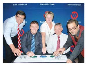 At the launch of the Bank Windhoek/Republikein Motor Show are from left to right, Chris Matthee, Executive Officer: Retail Banking Services at Bank Windhoek, Albe Botha, CEO of Democratic Media, Sandra Blaauw, Manager of Vehicle and Asset Finance at Bank Windhoek, Christo de Vries, MD of Bank Windhoek, and Danie Booysen, editor of the Republikein newspaper.