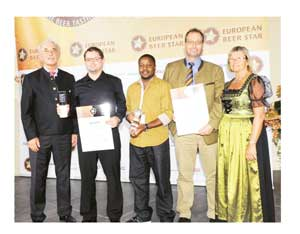 (From left to right) Gerhard Ilgenfritz, President Private Brauereien Bayern e.V.; Markus Scholz, NBL Brewing Technologist; Homateni Kapewangolo, NBL Manager Quality Control; Christian Mueller, NBL Brewmaster; and Renate Scheibner, President Private Brauereien Deutschland e.V.