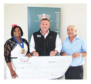 From left to right: The Deputy Mayor of Swakopmund, Councillor Louise Madi; Wessie Van Der Westhuizen, MD of the Breweries and Clive Lawrence, General Manager of the Health Department at the Swakopmund Municipality.