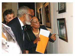 Founding President Sam Nujoma and Dr Libertina Amathila sharing memories at the opening of the exhibition (Photograph by Melba Chipepo)