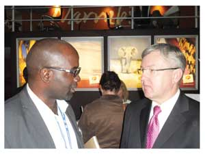 Klemens /Awarab, Head of Marketing at the Namibian Tourism Board and Mr Marthinus van Schalkwyk, the SA Minister of Tourism.