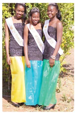 Miss High School Namibia 2013, Sylvia Sheuya from Tsumeb Secondary School (centre), 1st Princess Lisa Amukugo also from Tsumeb Secondary School (right) and 2nd princess Ruth Muteka from Etosha Secondary School are the fairest of them all at the Miss High School Namibia pageant.