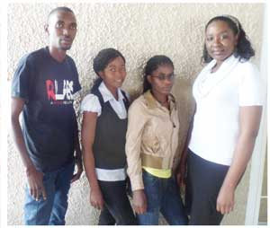 Patric Mupupula (Youth Relations Officer), Dorothy Kuthedze, Alina Amkongo and Linea Hanghome.