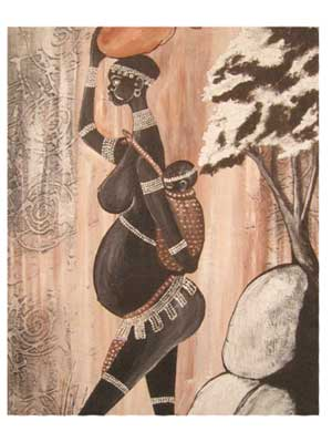 Celebrating the African Woman, a painting of a mother carrying a child oh her back.