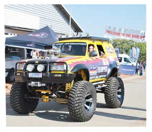 Not a big-wheel, not yet. This enthusiast's version of a proper outdoors vehicle with unlimited offroad  capability, proved to be a major drawcard at the motor show that formed part of the Tourism Expo. The baby monster is the property of LA Sport, an offroad specialist centre.
