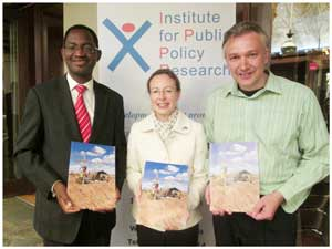 "H.E. Marianne Young, British High Commissioner with the director of the Anti Corruption Commission, Paulus Noa, (left) and the director of the Institute for Public Policy Research, Graham Hopwood at the launch of the IPPR's research paper ""Namibia's New Frontiers: Transparency and Accountability in Extractive Industry Exploration"". (Photograph by Lorato Khobetsi)"
