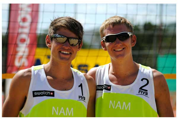 Caption: Gerard Fischer and partner Tin Hlupic won the fourth tournament of the KIA Namibia National Beach Volleyball Tour. ( photograph contributed