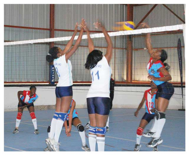Revivals Volleyball Club in action during a match against the NDF ladies. The Katutura based outfit climbed four spots after last weekend's games in the Bank Windhoek National Volleyball Ladies League. (photograph contributed)