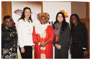 Honourable Laura Mcleod Katjirua, Governor of the Khomas Region flanked by Charity Mwiya of the Namibia Chamber of Commerce and Industry (far left), Desere Lundon-Muller, chairperson of the Economist Businesswomen Club, and on the right, Annerie Rademeyer of PricewaterhouseCoopers SA, and Monica Kalondo of Stimulus Investments.