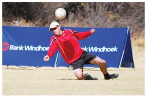 Wolfgang Carl in action for DTS in the Bank Windhoek National Fistball B league