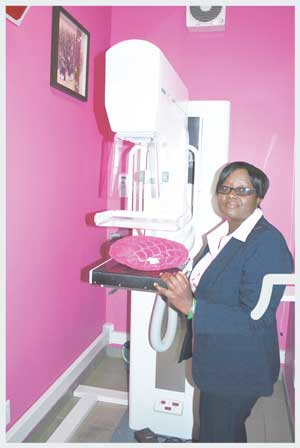 Radiographer Renathe Gawanas and the mammograph in her radiology branch at the Khomas Medical Centre in Windhoek.