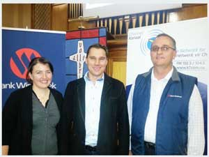 Marike de Jager of Bank Windhoek; Hein Wagner, famous blind adventurer from South Africa; and Johan Schroer, Branch Manager at Bank Windhoek in Mariental.