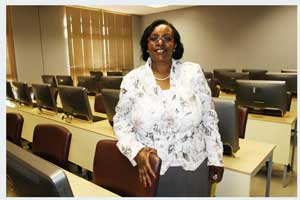Development Bank Good Business Award winner, the International University of Management used finance from the Development Bank to establish a new campus with modern facilities. Vice Chancellor, Virginia Namwandi in a state-of-the-art lecture hall, which has enabled the institution to make a dramatic shift in educational quality and spread.