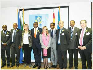Deputy Minister of Environment and Tourism, Hon Pohamba Shifeta, Spanish Ambassador to Namibia, Her Excellency Maria del Carmen Diez and Polytechnic of Namibia Rector, Prof Tjama Tjivikua together with delegates from various countries who attended the seminar. (Photograph by Melba Chipepo)