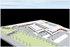 The architect's CAD impression of the mall, once completed.