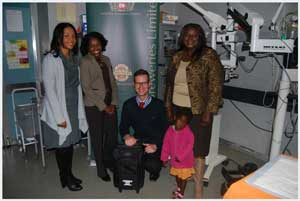 Senior Brand Manager of Namibia Breweries, Jacquiline Pack, Drs. Helena Ndume and Sven Obholzer of the Windhoek Central Hospital eye clinic,  National Marketing Manager of NBL Rosemary Shippiki and little Precious Wemmert, one of the many patients at the eye clinic.