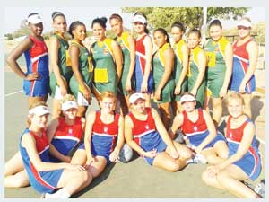 Agri College of Grootfontein (in red and blue), played against Dr. Lemmer High School of Rehoboth (in green and gold) last weekend in Otjiwarongo. Agri College won the match 39:12. (photograph contributed)