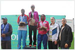 Gabriel Freyer, Chief Regional Sports Officer Ministry of Youth National Service, Sports and Culture; 2nd place Anna Amutoko; 1st place Lavinia Haitope; 3rd place Ndeshimona Ekandjo; McDonald Hanse Old Mutual Branch Manager Keetmanshoop; Enrica Farmer Mutual and Federal