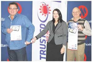 Pictured at the launch are Johan Rieckert, Chairman of Trustco United, Marlize Horn, Executive Officer: Marketing and Corporate Communication Services at Bank Windhoek and Charles Gordon, Events Organiser of the Bank Windhoek Corporate Challenge Relay.