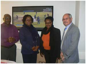 Dr. Nkalamo (left), Sister Makaula, the former Mayor of Lüderitz, Ms Emilia Amupewa, and Dr HenryPlatt at the ceremony where the Lüderitz Hospital TB ward received a flatscreen TV from the Church Alliance for Orphans.
