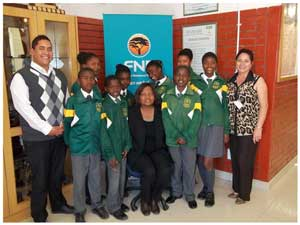 Learners from Duinesig Combined school with Principal Hileni M Lukas, teacher Mr L L Du Plessis and Lifestyle consultant L M Williams.