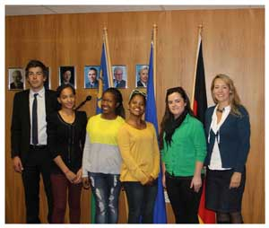 Phillipp Lendle of the German Embassy with students Uaripi Tjihero, Natascha Tjaveondja, Cassandra Blockstein, Lelanri Jacobs, and Jana Wall, also of the German Embassy.