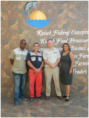 From left to right, Harold Kaune, admin manager at Kuiseb Fishing Entreprises, Holger Klein of KFE Marine Farming, Nelus van Niekerk,from Kuiseb Food Processors and Chriselle Roubain from Naras Investment Business Centre.