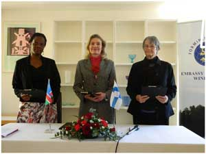 Caption: Executive Director of the Desert Research Foundation of Namibia Viviane Kinyaga, Chargé d' Affaires of Finland Anne Saloranta and Gobabeb Training and Research Centre Member of the Board of Trustees Mary Seely at the grant signing ceremony. (Photograph by Melba Chipepo).