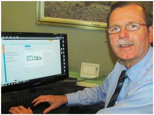 Ian Leyenaar CEO of FNB Namibia takes his bank's new website for a test drive.