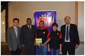 mbassador of the People's Republic of China, Xin Shunkang, Minister of Agriculture, Water and Forestry, Hon John Mutorwa, Directors of Namibia Publishing House Dennis Orlam, and Cecelia Blom, and Peter Reiner of Macmillan.
