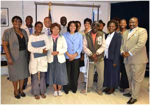 The US Ambassador to Namibia, Ms. Wanda Nesbitt (with blue tunic) launched a workshop for members of community projects that are funded under the Ambassador's Self-Help Programme. The individuals who attended the workshop are responsible for managing the projects. The workshop provided basic training on managing the funds and their projects.