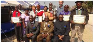 During the Katima Trade and Agricultural Fair 2013 held between 5 and 10 August, the best grain farmers were awarded with trophies and certificates by the Deputy Chair of the Namibian Agronomic Board, Ms Sirkka Iileka.