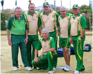 The triumphant South African men's bowls team.